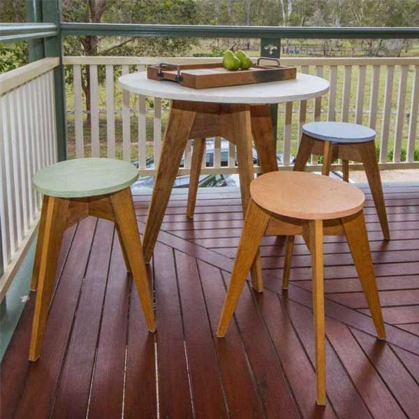 Recycled solid timber top rustic cafe style 6 seater round wooden dining table ebay Timber home office furniture brisbane