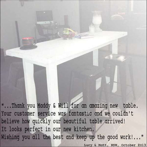 """Once Upon A Queenslander"" Eco Recycled High Bench Table in White"