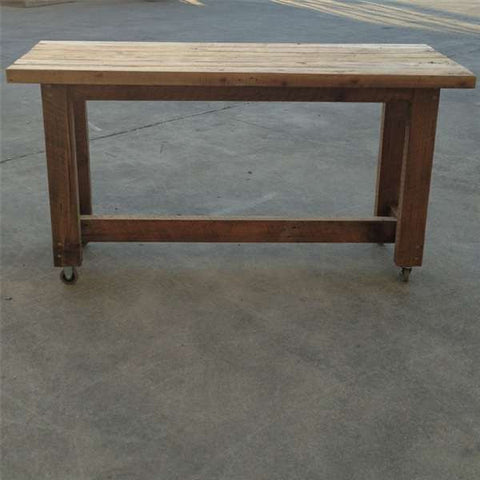 """Once Upon A Queenslander"" Eco Recycled High Bench Table in Natural with Wheels"