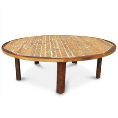 Once Upon A Queenslander Eco Recycled Round Outdoor Dining Table With Built-In LAZY SUSAN