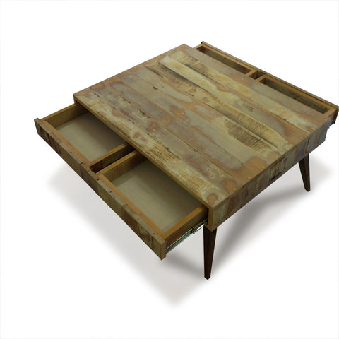 """Once Upon A Queenslander"" Eco Recycled Retro Coffee Table With 4 Drawers"