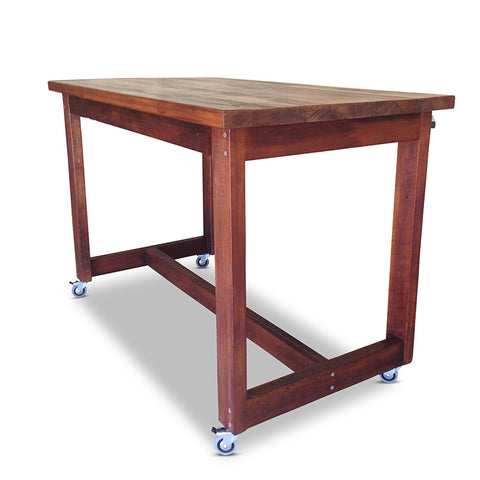 """Once Upon A Queenslander"" Industrial Recycled High Bench Table Dark Walnut Finish with Wheels (SUPERSIZED)"