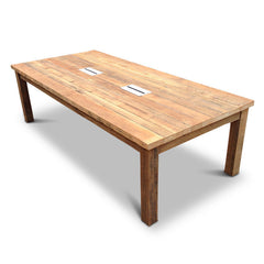 Modern Rustic Recycled Boardroom Table in Natural with Built-In Desk Modules