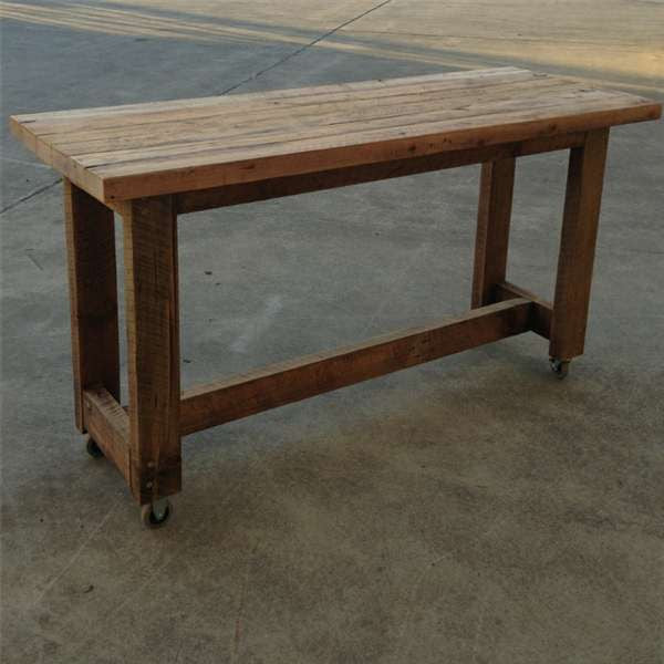 Industrial Cart Coffee Table Australia: High Kitchen Island Bench Table In Natural With Wheels