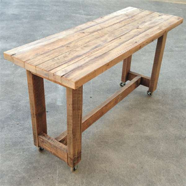 Solid timber kitchen island high bench table w wheels in natural free delivery ebay Timber home office furniture brisbane