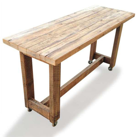 Outdoor Designer Furniture Eco Recycled High Bench Table in Natural with Wheels
