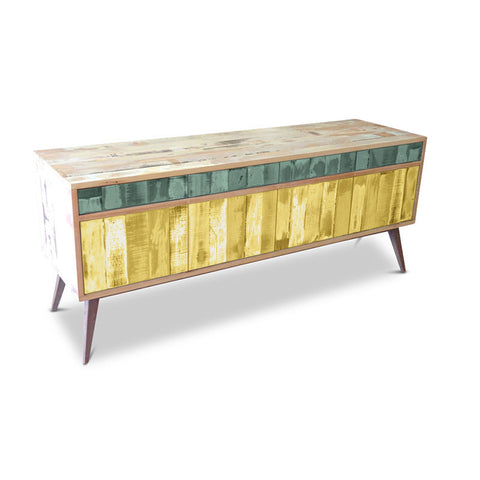 """Once Upon A Queenslander"" Eco Recycled Retro Cabinet / Sideboard / Buffet with Push To Open Drawers & Doors in Teal Green & Lemon Meringue"
