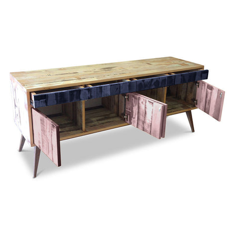 """Once Upon A Queenslander"" Eco Recycled Retro Cabinet / Sideboard / Buffet with Push To Open Drawers & Doors in Navy Blue & Blush Pink"