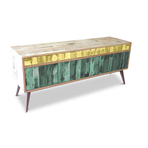 """Once Upon A Queenslander"" Eco Recycled Retro Cabinet / Sideboard / Buffet with Push To Open Drawers & Doors in Lemon Meringue & Teal Green"