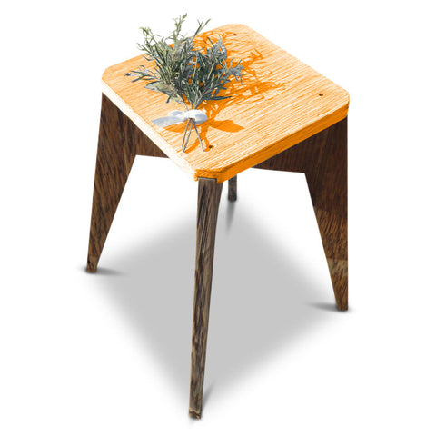 """Once Upon A Queenslander"" Eco Recycled Handmade Retro Vintage Modern Geometric Octagonal   Wooden Bedside Kitchen Bar stool in Orange, Coral and Peach"