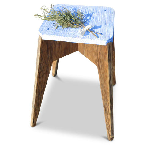 """Once Upon A Queenslander"" Eco Recycled Handmade Retro Vintage Modern Geometric Octagonal Wooden Kitchen Bar stool in Navy Blue"