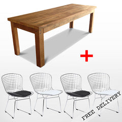 Modern Rustic Warehouse Eco Recycled 5 Piece Dining Suite in Natural With Bertoia Replica Side Chair