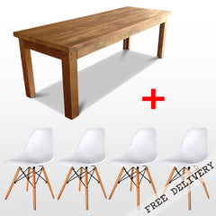 """Once Upon A Queenslander"" 5 Piece Dining Suite - Eco Recycled Dining Table in Natural and White Replica Eames Dining Chair"