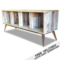 Retro Modern Mid Century Eco Recycled Retro Open Cabinet / Sideboard / Buffet