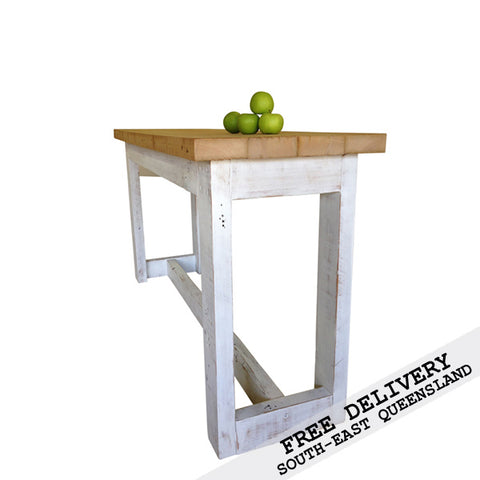 "Retro Recycled Country Farmhouse ""Petite"" High Bench Table / Desk in Natural & White"