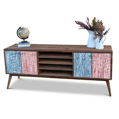 """Once Upon A Queenslander"" Eco Recycled Solid Timber Classic 1960s Retro Mid Century Vintage Powder Blue & Blush Pink Wooden Entertainment Unit With Shelves"