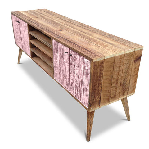 """Once Upon A Queenslander"" Eco Recycled Solid Timber Classic 1960s Retro Mid Century Vintage Blush Pink Wooden Entertainment Unit With Shelves"