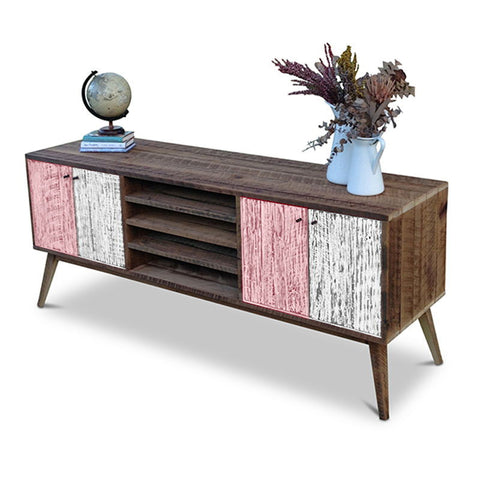 """Once Upon A Queenslander"" Eco Recycled Solid Timber Classic 1960s Retro Mid Century Vintage Blush Pink & White Wooden Entertainment Unit With Shelves"