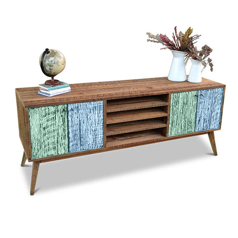 """Once Upon A Queenslander"" Eco Recycled Solid Timber Classic 1960s Retro Mid Century Vintage Teal Green & Powder Blue Wooden Entertainment Unit With Shelves"