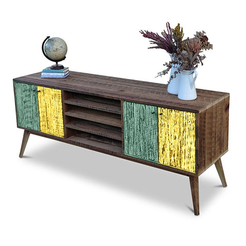 """Once Upon A Queenslander"" Eco Recycled Solid Timber Classic 1960s Retro Mid Century Vintage Teal Green & Lemon Meringue Entertainment Unit With Shelves"