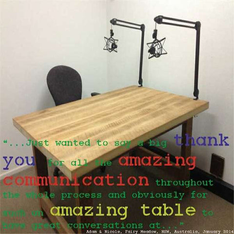 """ Eco Recycled High Bench Table in Natural Testimonial"