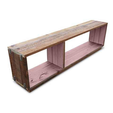 """Once Upon A Queenslander"" Eco Recycled Modular Bookcase / Bench / TV Stand in Blush Pink"