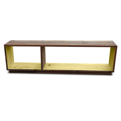 """Once Upon A Queenslander"" Eco Recycled Modular Bookcase / Bench / TV Stand in Yellow"