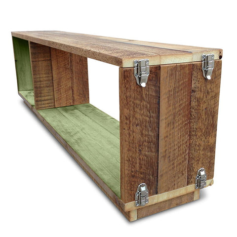 """Once Upon A Queenslander"" Eco Recycled Modular Bookcase / Bench / TV Stand in Mint Green"