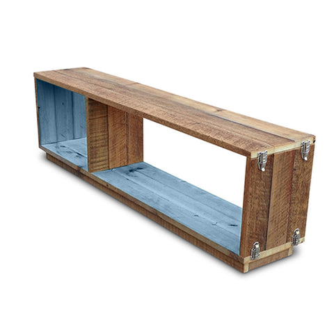 """Once Upon A Queenslander"" Eco Recycled Modular Bookcase / Bench / TV Stand in Powder Blue"