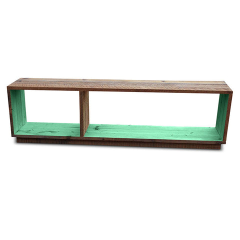"""Once Upon A Queenslander"" Eco Recycled Modular Bookcase / Bench / TV Stand in Teal Green"