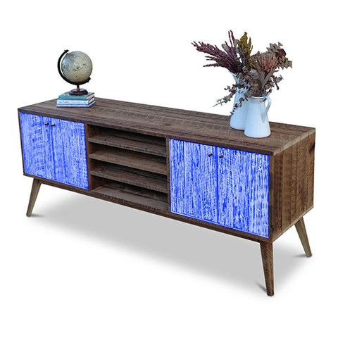 """Once Upon A Queenslander"" Eco Recycled Solid Timber Classic 1960s Retro Mid Century Vintage Navy Blue Wooden Entertainment Unit With Shelves"