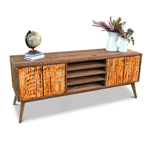 """Once Upon A Queenslander"" Eco Recycled Solid Timber Classic 1960s Retro Mid Century Vintage Orange Wooden Entertainment Unit With Shelves"