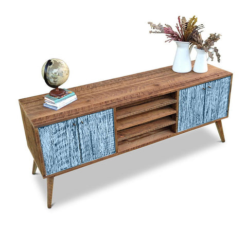 """Once Upon A Queenslander"" Eco Recycled Solid Timber Classic 1960s Retro Mid Century Vintage Powder Blue Wooden Entertainment Unit With Shelves"