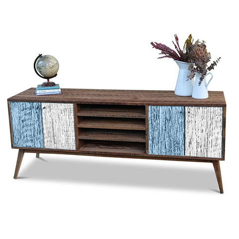 """Once Upon A Queenslander"" Eco Recycled Solid Timber Classic 1960s Retro Mid Century Vintage Powder Blue & White Wooden Entertainment Unit With Shelves"