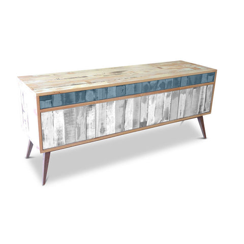 """Once Upon A Queenslander"" Eco Recycled Retro Cabinet / Sideboard / Buffet with Push To Open Drawers & Doors in Powder Blue & White"
