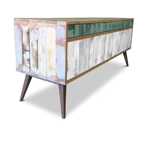 """Once Upon A Queenslander"" Eco Recycled Retro Cabinet / Sideboard / Buffet with Push To Open Drawers & Doors in Teal Green & White"