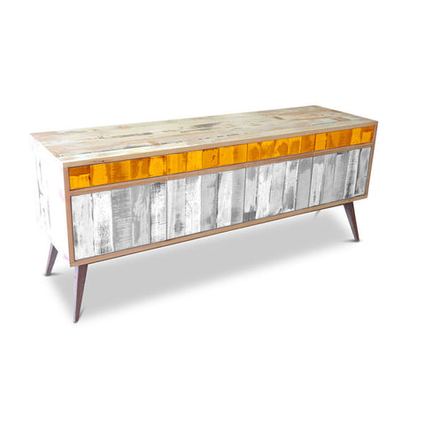 """Once Upon A Queenslander"" Eco Recycled Retro Cabinet / Sideboard / Buffet with Push To Open Drawers & Doors in Orange & White"