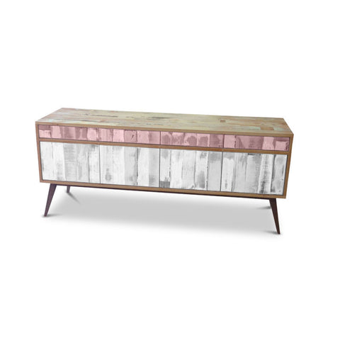 """Once Upon A Queenslander"" Eco Recycled Retro Cabinet / Sideboard / Buffet with Push To Open Drawers & Doors in Blush Pink & White"