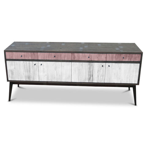 """Once Upon A Queenslander"" Eco Recycled Sideboard / Entertainment Unit in Blush Pink & White"