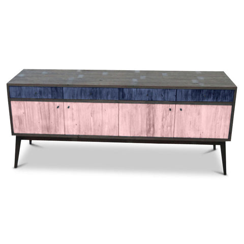 """Once Upon A Queenslander"" Eco Recycled Sideboard / Entertainment Unit in Navy Blue & Blush Pink"