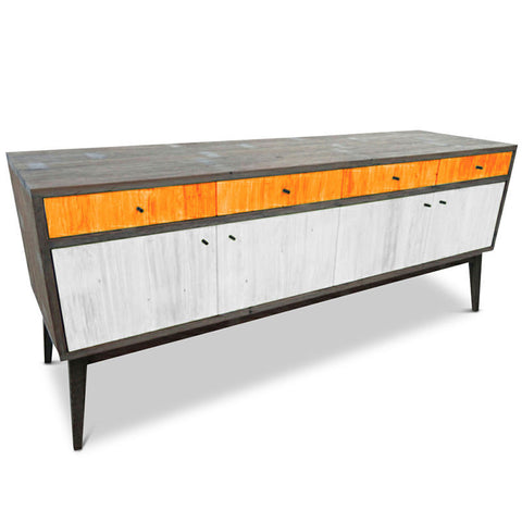"""Once Upon A Queenslander"" Eco Recycled Sideboard / Entertainment Unit in Orange & White"