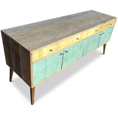 """Once Upon A Queenslander"" Eco Recycled Sideboard / Entertainment Unit in Pastel Yellow & Mint Green"