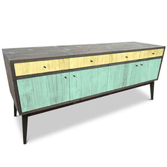 """Once Upon A Queenslander"" Eco Recycled Sideboard / Entertainment Unit in Lemon Meringue & Teal Green"