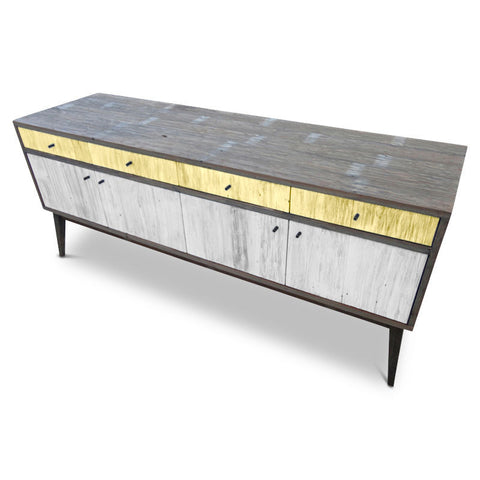 """Once Upon A Queenslander"" Eco Recycled Sideboard / Entertainment Unit in Pastel Yellow & White"