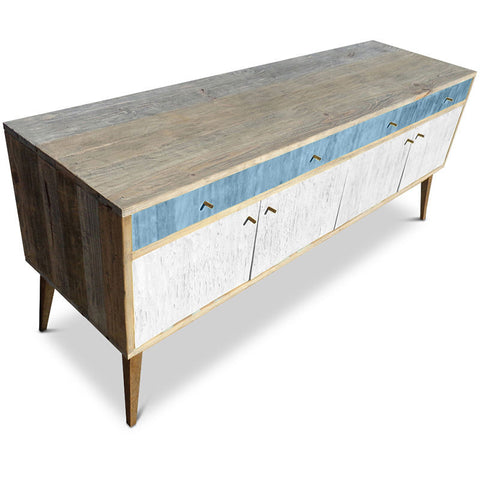 """Once Upon A Queenslander"" Eco Recycled Sideboard / Entertainment Unit in Powder Blue & White"