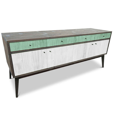 """Once Upon A Queenslander"" Eco Recycled Sideboard / Entertainment Unit in Teal Green & White"