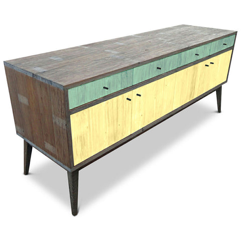 """Once Upon A Queenslander"" Eco Recycled Sideboard / Entertainment Unit in Teal Green & Pastel Yellow"