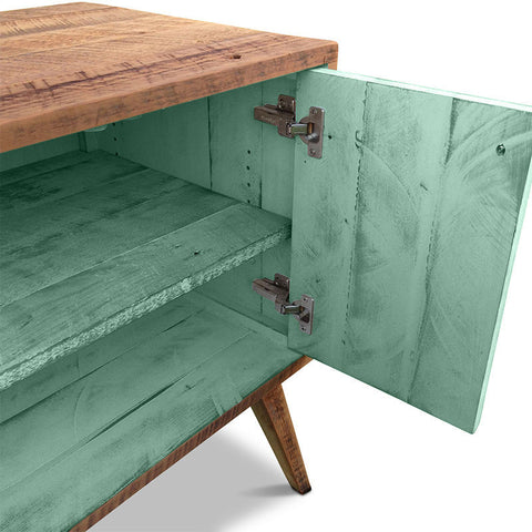 """Once Upon A Queenslander"" Eco Recycled Solid Timber Classic 1960s Retro Mid Century Vintage Teal Green Wooden Entertainment Unit With Shelves"