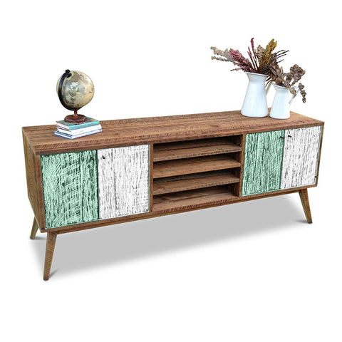 """Once Upon A Queenslander"" Eco Recycled Solid Timber Classic 1960s Retro Mid Century Vintage Teal Green & White Wooden Entertainment Unit With Shelves"