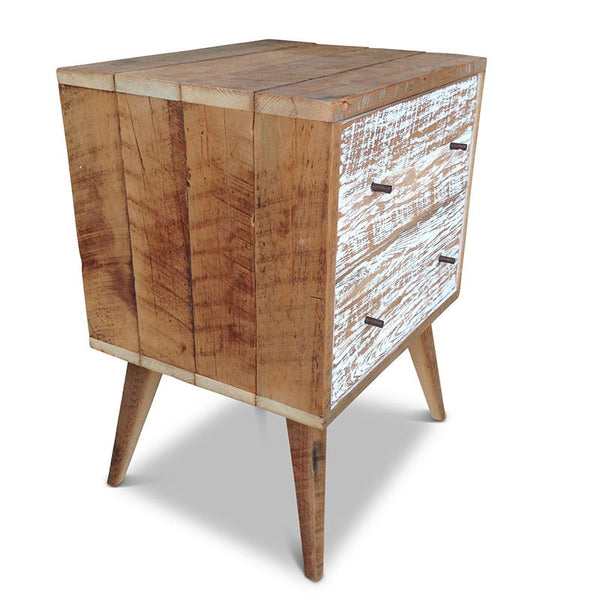 Rustic country solid timber bedside lamp table w 2 drawers white free delivery Timber home office furniture brisbane